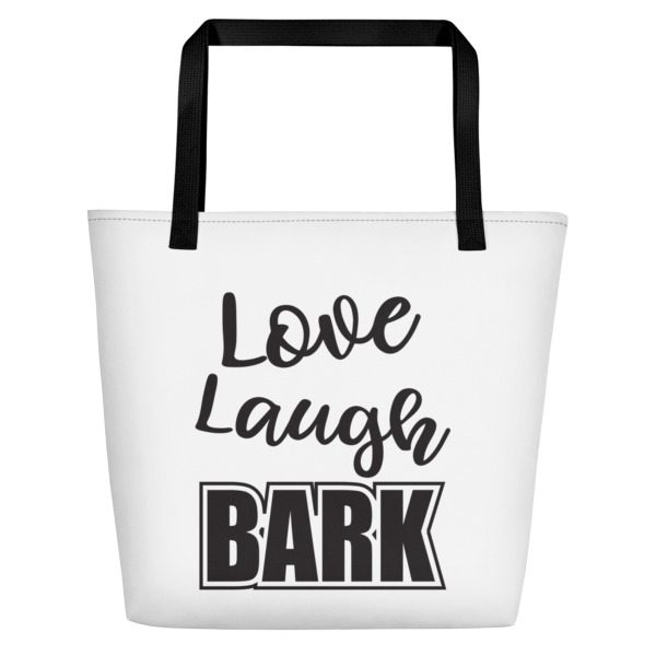 Love laugh bark beach bag1