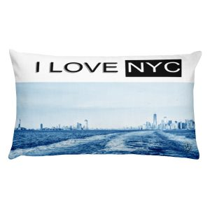 I Love NYC rectangle blue front pillow