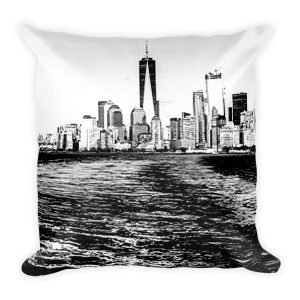 NYC Riverside Black and White square pillow