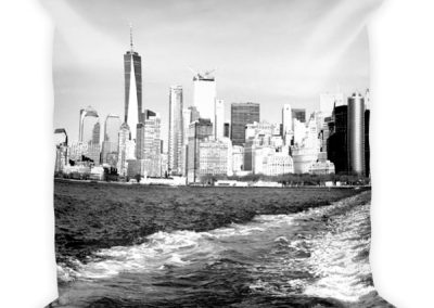 NYC Ferry Ride Black and white Square pillow