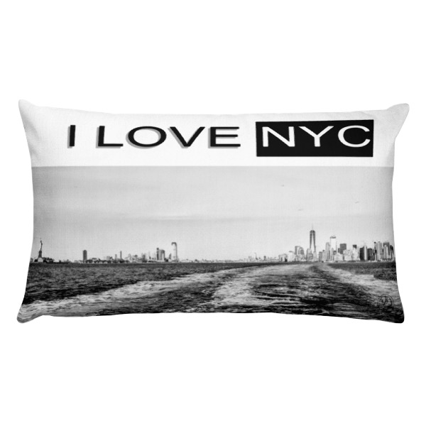 I Love NYC rectangle B& W front pillow