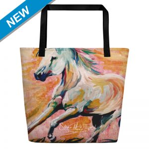 Abstract Watercolor Horse Pink mockup Front NEW TAG