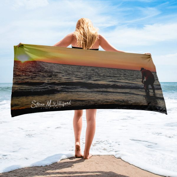 Sunset Walk On The Beach Beach Towel